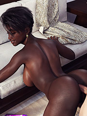 Ebony bitch dominate - Interracial 3d by Rotrex